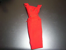 VINTAGE BARBIE RED DRESS WITH GOLD BUTTONS(VINTAGE BLACK AND WHITE TAG)