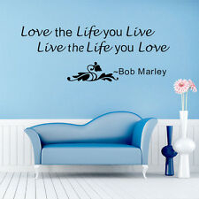 Love The Life You Live Quote Bob Marley Removable Wall Art Decor Sticker Decals