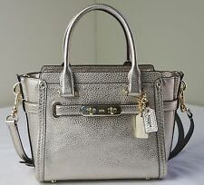 Coach 37444 Platinum Leather Swagger 21 Satchel Crossbody