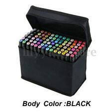 80 Color SET Animation Graphic Art Sketch Tip Broad Fine Point Marker Pen + Bag