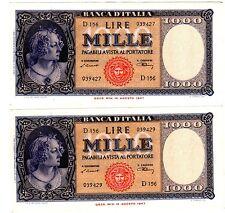 2 BILLETS Italie ITALY ITALIA 1000 LIRE 1948 1947 P88 CONSECUTFIS AU+ QUASI NEUF