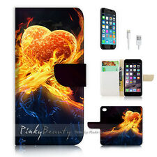 iPhone 7 (4.7') Flip Wallet Case Cover P0452 Flame Heart