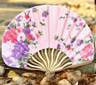 Japanese Chinese Pink Bamboo Silk Flower Blossom HAND FAN Wedding Party Gift