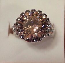 Sterling Silver Filled Round Pink & White Topaz Gemstone Ring Size 10