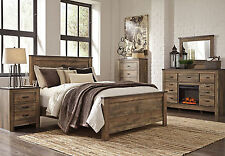 GLENN-Rustic Cottage Modern 5pcs Natural Brown King Panel Bedroom Set Furniture