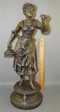 ANTIQUE VICTORIAN FIGURAL  LADY SPELTER STATUE 19''HIGH