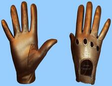 New WOMENS size 8.5 METALLIC BRONZE GENUINE KID LEATHER DRIVING GLOVES