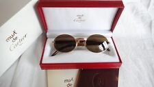 VINTAGE CARTIER GIVERNY GOLD & WOOD 53/22 FULL SET BROWN LENS FRANCE SUNGLASSES