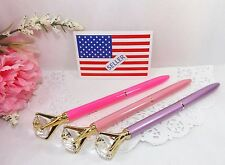 Ballpoint Pen Concert Diamond Crystal Head 3 Pak Pink Hot Pink Lavender-Gift Box