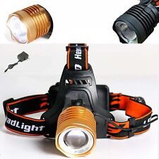 New Zoomable Cree XML T6 Led Headlight Headlamp 2200lm 3 mode Head lamp +charger