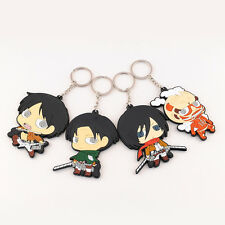 4Pcs HOT Cute Japanese Anime Attack On Titan Silicone Key Chain Keychain Figure