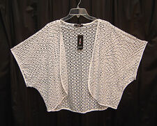 WHITE SEMI-SHEER OPEN FRONT CUT OUT CARDIGAN JACKET SWEATER SHRUG TOP~2X~NEW
