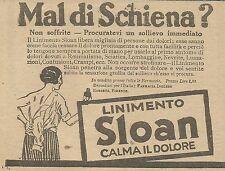 W5743 Mal di schiena? Linimento SLOAN - Pubblicità 1926 - Advertising