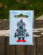 """Robot Applique Embroidered Patch 2"""" Tall Computer Blue Sparkly Red Shoes Antenna"""