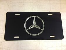 MERCEDES LOGO Car Tag Diamond Etched on Black Aluminum License Plate