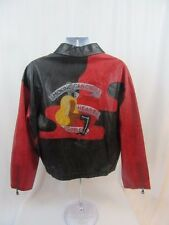 "Iceberg 1992 Rare Pelle Leather Jacket ""Smoking Can Cause Heart Problems"" Large"