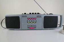 Vintage Philips Moving Sound Cassette Radio Player AQ5291 Boombox Carry TESTED