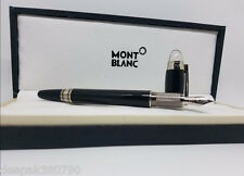 New Mont blanc Fountain Pen black with silver trim - Imported with free 2 Gifts