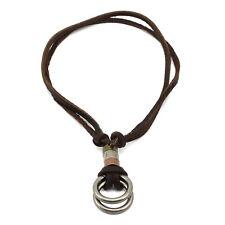 Neu Damen Herren Leder Halsband mit Double Ring Anhänger Charm Halskette Braun