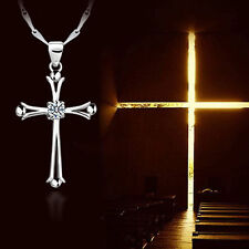 Jewelry Women Men Crystal Silver Plated Cross Shaped Pendant Necklace