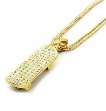 "Mens Gold Iced Out Skateboard Pendant Hip-Hop 36"" Inch Franco Necklace Chain"