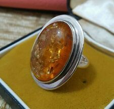 925 STERLING SILVER COCKTAIL RING, GENUINE AMBER, SIZE L½, 10.85 GR