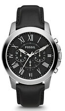 Fossil FS4812 Men's Grant Black Leather Band Black Dial Chronograph Watch