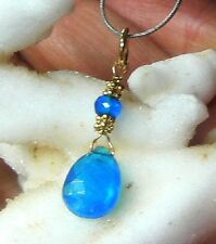 NATURAL FACETED ELECTRIC BLUE APATITE BRIOLETTE 14K GOLD PENDANT CHARM