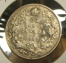 1907~~CANADIAN 25 CENTS~~SILVER~~SCARCE~~CANADA~~HIGHER GRADE