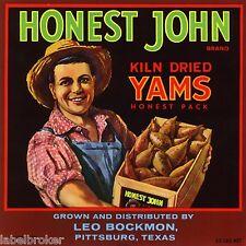 YAM CRATE LABEL HONEST JOHN PITTSBURGH TEXAS 1950S VINTAGE ORIGINAL FARMER