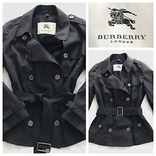 Burberry veste courte trench léger manteau bleu marine taille uk 6 | burberry london