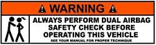WARNING DUAL AIRBAG CHECK HELMET STICKER HARD HAT STICKER