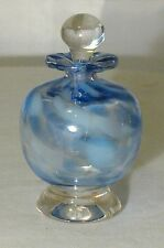 LUKIEN ART GLASS PERFUME BOTTLE HANDMADE IN CANADA  BLUE & WHITE W/APPLICATOR
