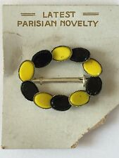 Vintage Dress Buckles- Yellow/Black Parisian Novelty Dress Buckle