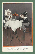 """1913 FRED SPURGIN POSTCARD """"AREN'T SOME GIRLS EMPTY? """" YOUNG DANDY AND GIRL"""
