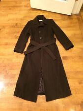 Ladies Long Chocolate Brown Belted Winter Coat By Michael Kors, Size 6