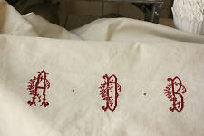 Antique vintage French metis linen cotton sheet ADB 3 monogram ! 64X123 long !