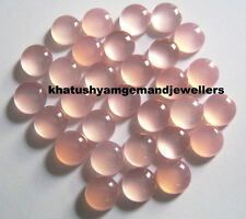 AAA Quality 10 Piece Natural Pink Chalcedony 10 MM Round Cabochon Loose Gemstone