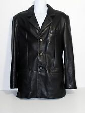 CLAIBORNE Black Lambskin Leather Men's Car Coat Dress Jacket BLAZER SZ S EUC!