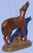 ANTIQUE  BRONZE WHIPPET ITALIAN GREYHOUND 10""