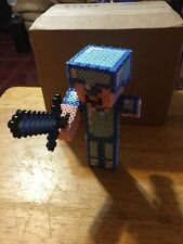 MINECRAFT Inspired 3d Diamond Steve Handmade Perler Beads Hama Steve Creeper