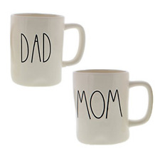 Rae Dunn Artisan Collection by Magenta DAD & MOM Coffee Mugs Set of Two