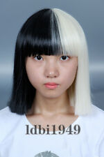 Women's Short Black & Blonde Straight Cosplay Bob Wig Halloween Costume Sia Hair