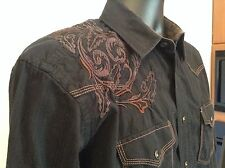Panhandle Slim Rough Stock Western Rockabilly Black Embroidered Snap Shirt M