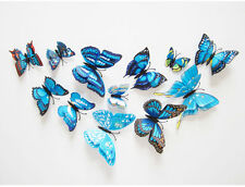 12Pcs Double Layer 3D Butterflies Home Fridage Decor Butterfly Wall Stickers New