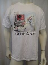 "TRUE VINTAGE 1991 THE FAR SIDE GARY LARSON ""GOD AT HIS COMPUTER"" T-SHIRT SZ XL"