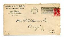 Advertising Envelope BOSTON & NY CUT SOLE 1894 NY wholesale leather  shoes