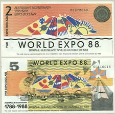 PAIR Of  NOTES ($2 / $5) ABNC AUSTRALIA WORLD EXPO 88 ENGRAVED NOTES - UNC!