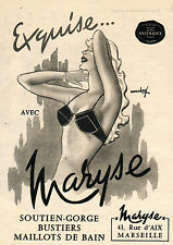 1959 MARYSE LINGERIE Original  Vintage Quarter Page French Magazine Ad