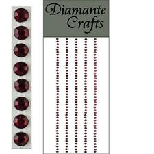 220 x 2mm Burgundy Diamante Self Adhesive Strips Rows Craft Gems